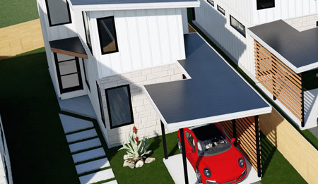 The 106 Tillery Street, Building 2 will be <b>Available March 2021</b> and is an exciting new modern home with 2 Bedrooms, 2.5 Bathrooms, and its own Carport.